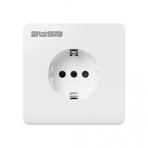 USB stopcontact (2x USB poort) + telefoonhouder met randaarde zuiver wit glanzend