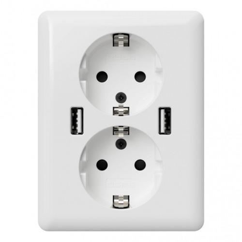 USB stopcontact half opbouw/ half inbouw (2x USB poort) met randaarde zuiver wit glanzend