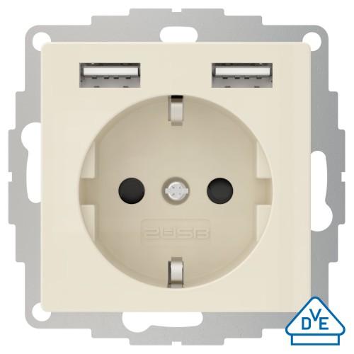 Universeel USB stopcontact (2x USB poort) met randaarde crème wit glanzend
