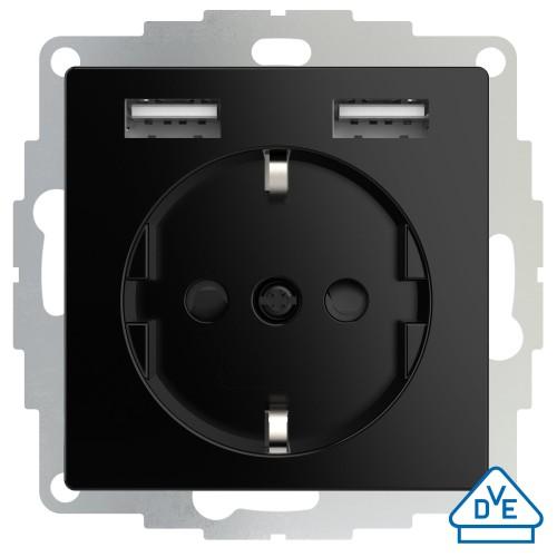 Universeel USB stopcontact (2x USB poort) met randaarde glanzend zwart