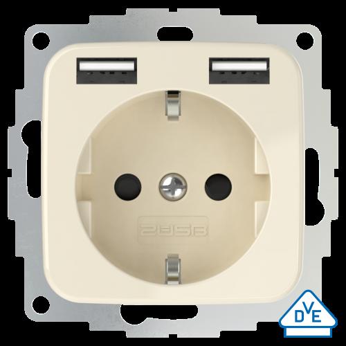 USB stopcontact SI (2x USB poort) met randaarde crème wit glanzend