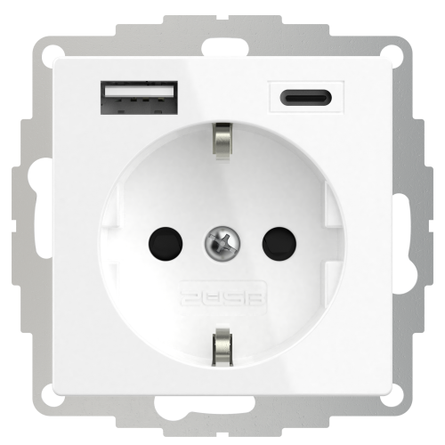 Universeel USB stopcontact (2x USB poort A-C) met randaarde zuiver wit glanzend