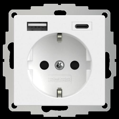 Universeel USB stopcontact (2x USB poort A-C) met randaarde zuiver wit mat
