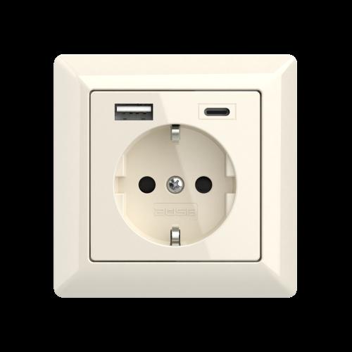 usb stopcontact glossy cream