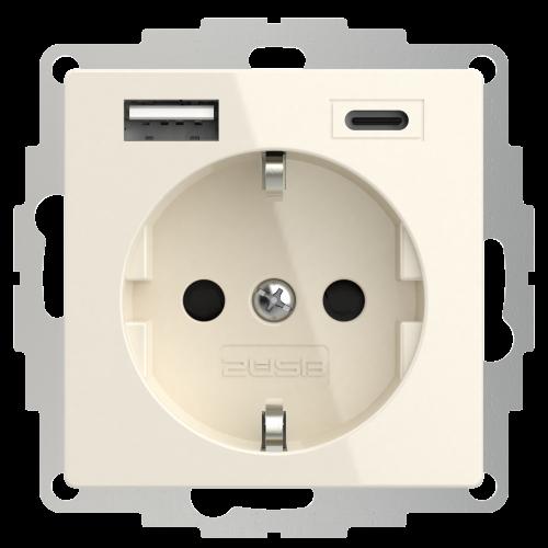 Universeel USB stopcontact (2x USB poort A-C) met randaarde crème wit glanzend