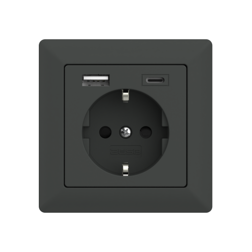 usb stopcontact anthracite